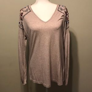 Francesca's Top with Embroidered Shoulders Sz S